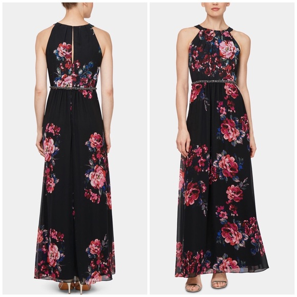 SLNY Dresses & Skirts - SLNY Floral Printed Embellished Waist Maxi Dress